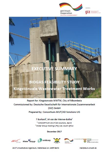 Summary of the Biogas Feasibility Study for Kingstonvale WWTW