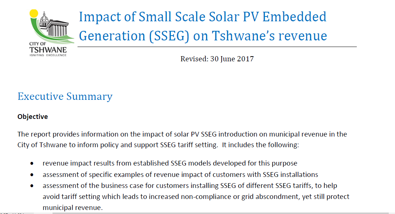 Municipal Small-Scale Embedded Generation Tariff Regimes