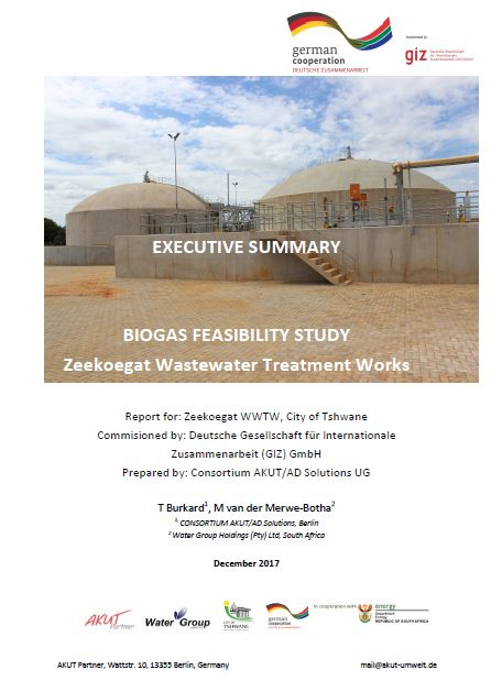Summary of the Biogas Feasibility Study for Zeekoegat WWTW